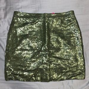 AGACI Olive Green Sequin Mini Skirt Size Medium